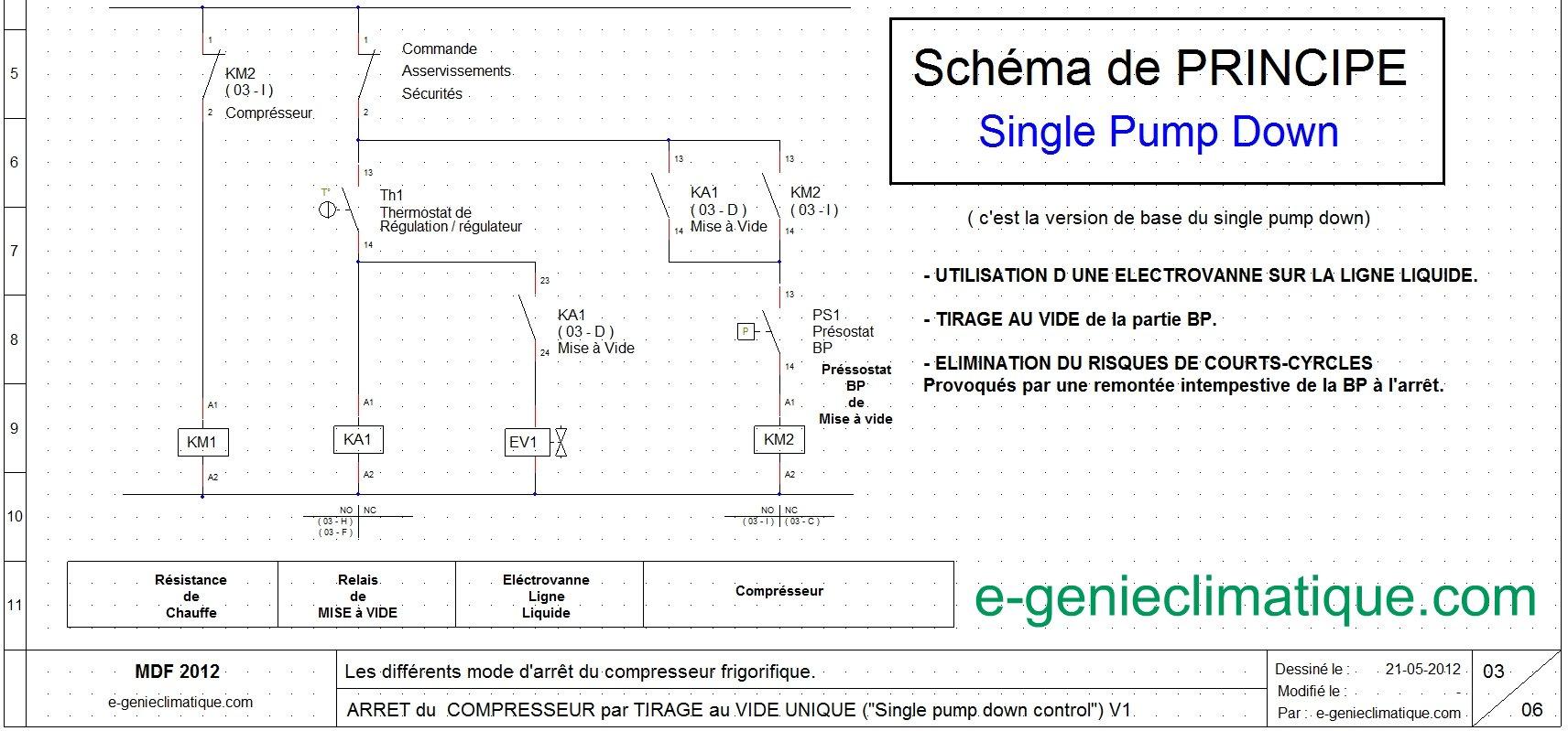 Froid13 sch ma lectrique arr t compresseur single pump down e - Schema electrique chambre froide ...