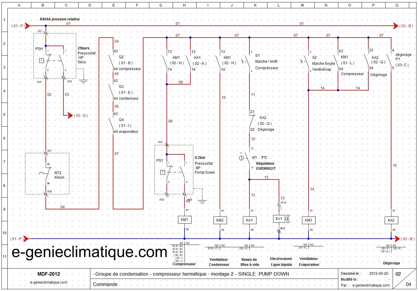 Froid17 le 2 me montage groupe herm tique avec le single pump down sch mas lectriques e - Schema electrique chambre froide ...