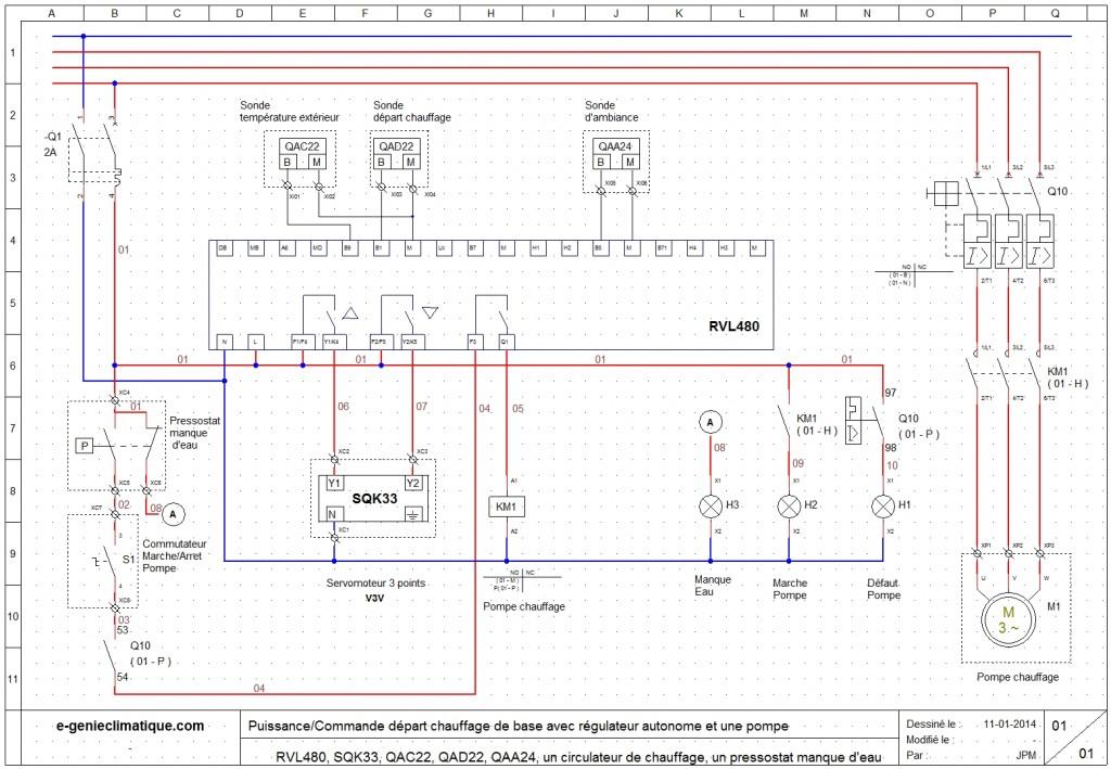 schéma électrique d'un départ chauffage avec une pompe et le RVL480