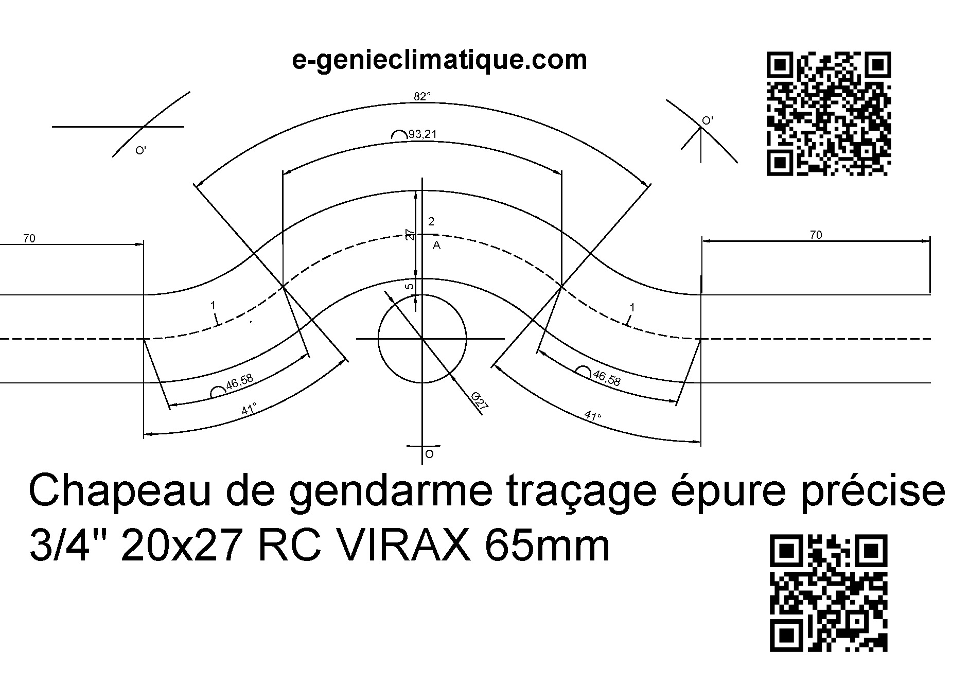 chapeau de gendarme epure precise rc65mm tube20x27mm acier tube evite acier27mm espacement 5mm. Black Bedroom Furniture Sets. Home Design Ideas